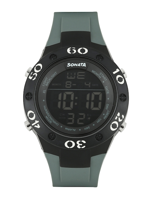 Sonata 77035PP02 Grey Dial Quartz Digital Men's Watch