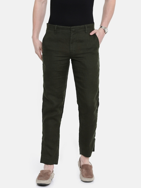 Jack & Jones Men Olive Green Regular Fit Solid Regular Trousers