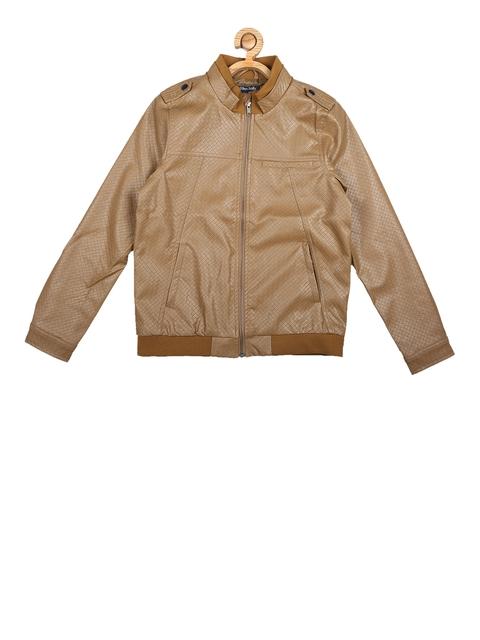 Allen Solly Junior Boys Beige Self Design Bomber Jacket