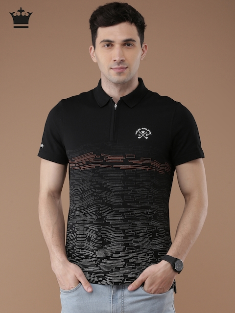 Louis Philippe Men Black Printed Polo T-shirt