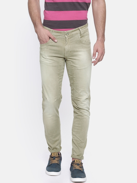 Mufti Men Beige Tailored Fit Faded Chinos