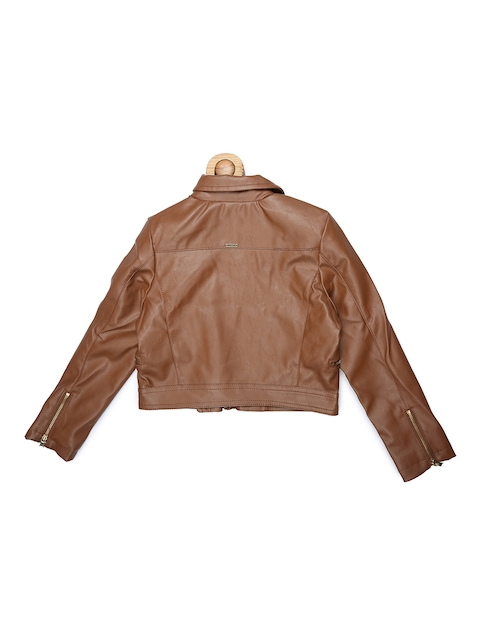 Allen Solly Junior Girls Brown Solid Bomber