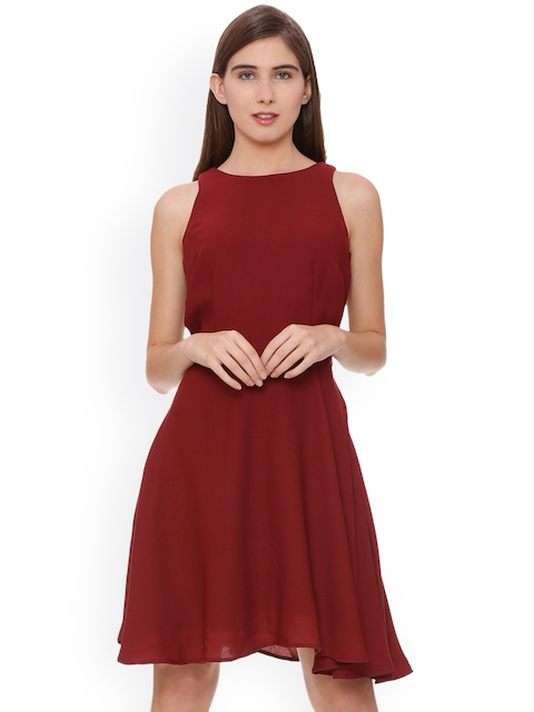 Allen Solly Women Maroon Solid A-Line Dress