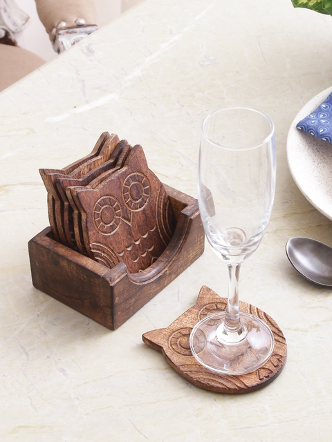 Sammsara Brown Set of 6 Carved Owl Coasters With Stand