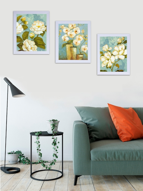 Art Street Set of 3 White & Blue Floral Printed Wall Art