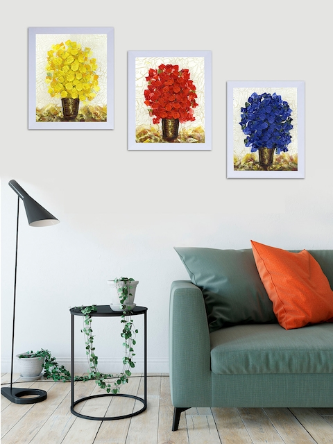 Art Street White, Red & Yellow Floral and Botanical Printed Set of 3 Wall Art