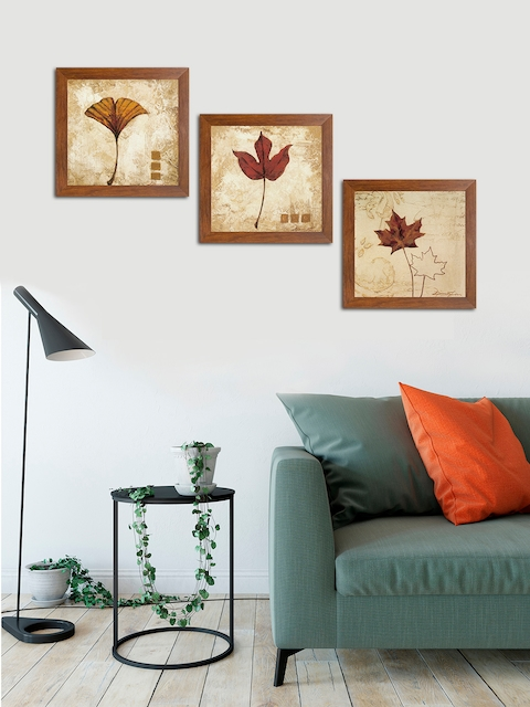 Art Street Brown & Beige Floral and Botanical Printed Set of 3 Wall Art