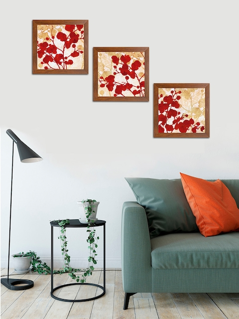 Art Street Red & Brown Abstract Printed Set of 3 Wall Art