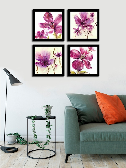 Art Street Pink & Black Floral and Botanical Printed Set of 4 Wall Art