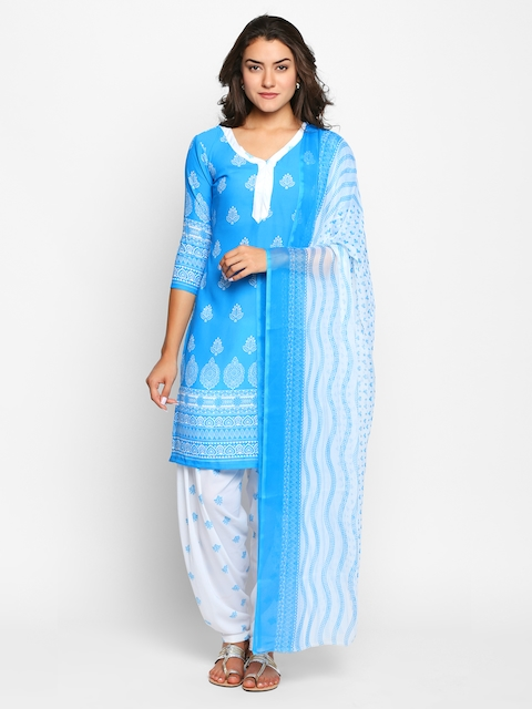 Ishin Women Blue Poly Crepe Unstitched Dress Material