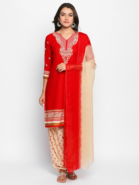 Ishin Women Red Poly Crepe Unstitched Dress Material