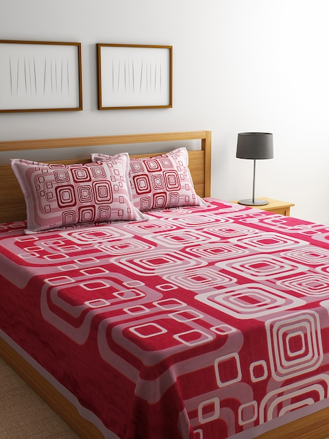 Romee Red & White Printed Reversible 220 TC Bed Cover With 2 Pillow Covers