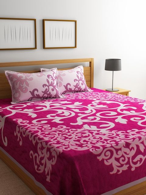 Romee Pink & White Reversible Bed Cover With 2 Pillow Covers