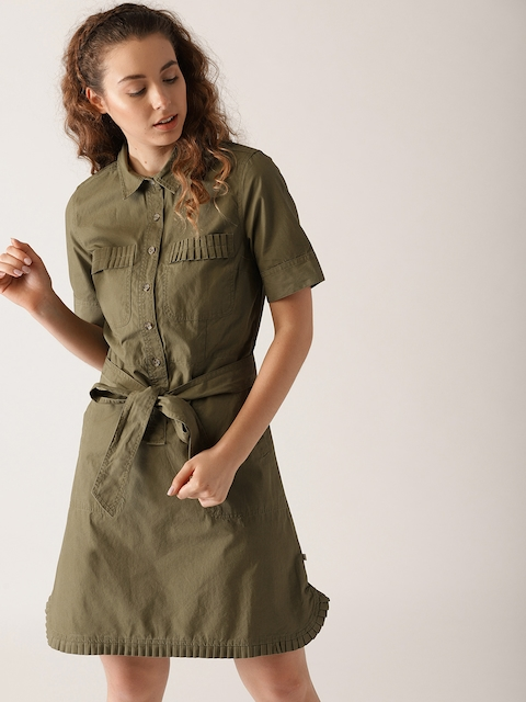 United Colors of Benetton Women Olive Green Solid Shirt Dress