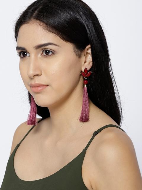 ChicMela Burgundy Stone-Studded Tasselled Drop Earrings