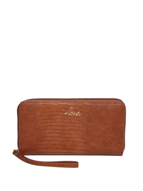 Lavie Women Tan Brown Textured Zip Around Wallet
