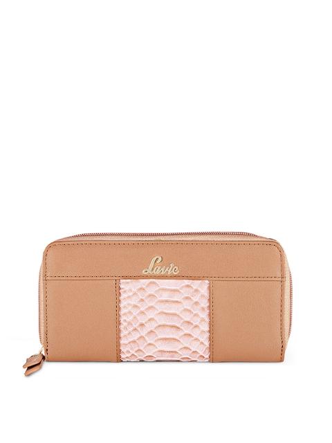 Lavie Women Brown & Pink Solid Zip Around Wallet