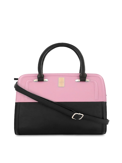 Lavie Black & Pink Colourblocked Satchel