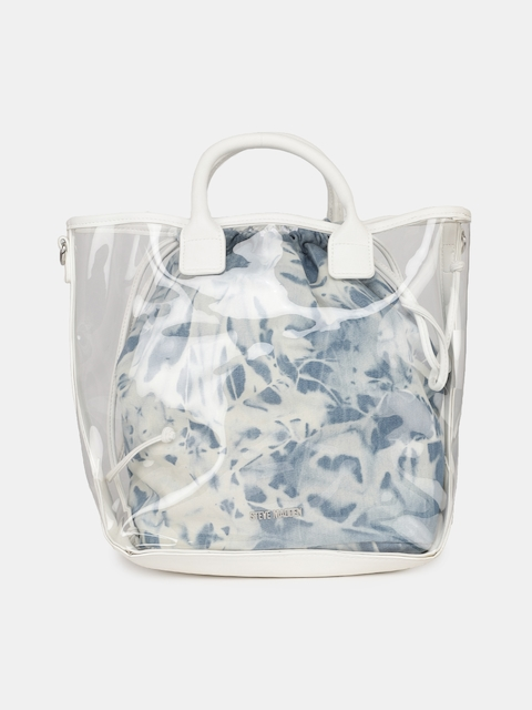 eb7b54202e39 45%off Steve Madden White Transparent Handheld Bag with Blue Printed Pouch