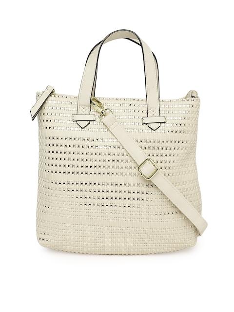 afc885e47697 45%off Steve Madden Cream-Coloured   Gold-Toned Woven Design Handheld Bag