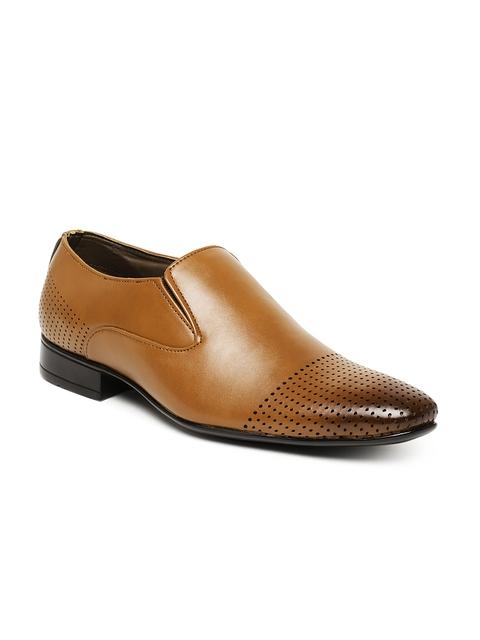 San Frissco Men Tan Brown Formal Slip-Ons