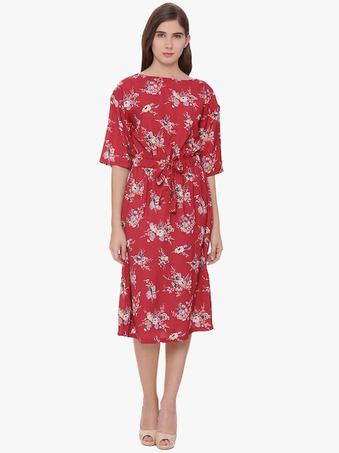 Van Heusen Woman Red Printed Fit & Flare Dress