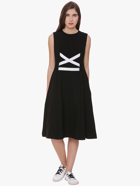 Van Heusen Woman Women Black Solid Fit and Flare Dress
