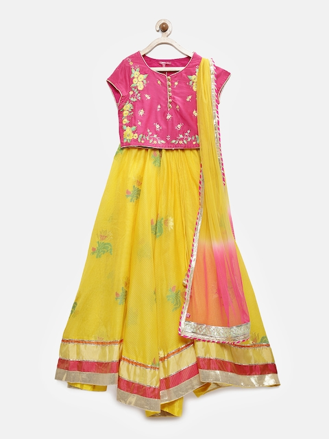 Biba Girls Fuchsia & Yellow Embroidered Ready to Wear Lehenga & Blouse with Dupatta