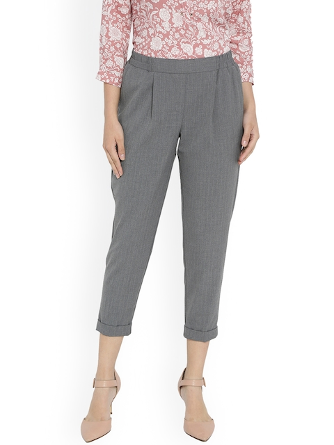 Van Heusen Woman Grey Regular Fit Solid Cigarette Trousers