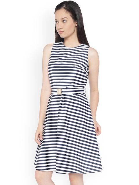 Van Heusen Woman Blue Striped Fit and Flare Dress