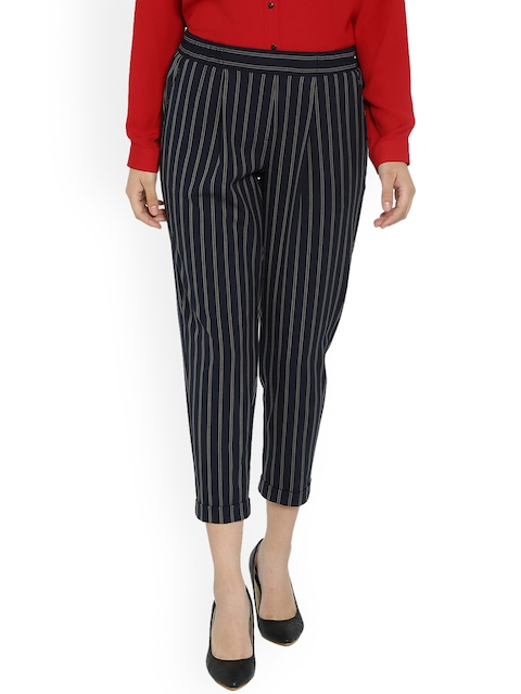 Van Heusen Woman Blue Regular Fit Striped Peg Trousers