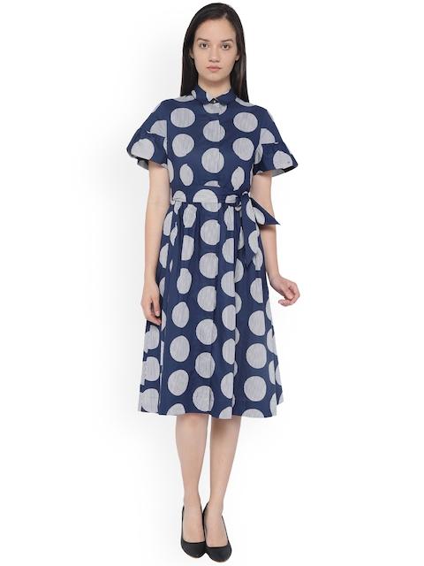 Van Heusen Woman Blue Printed A-Line Dress