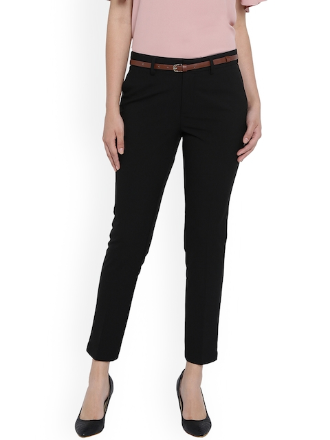 Van Heusen Woman Black Regular Fit Solid Formal Trousers