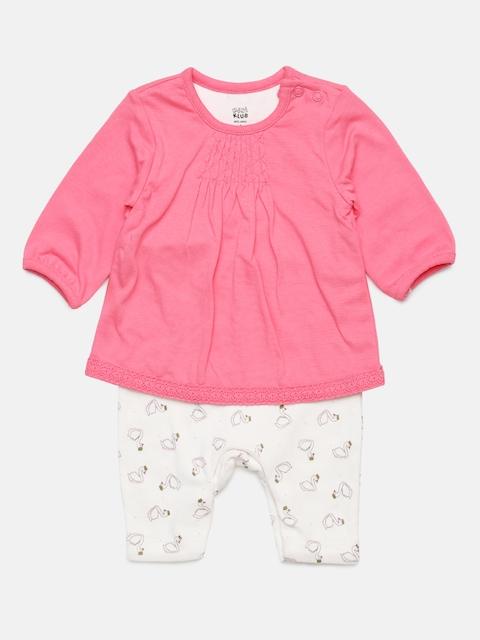 MINI KLUB Girls Pink Printed Rompers