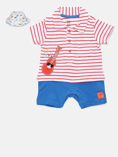 MINI KLUB Boys Red & Blue Printed Romper & Reversible Hat