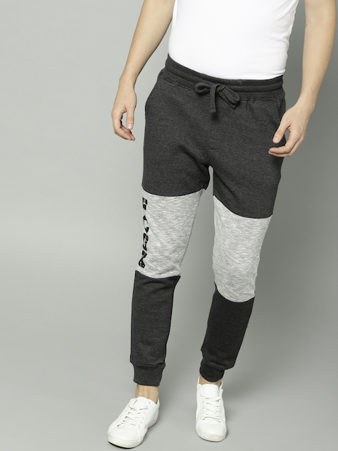 French Connection Men Charcoal Grey Regular Fit Solid Joggers