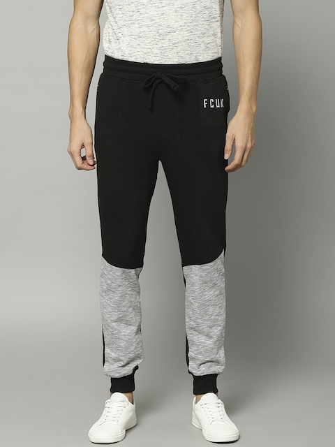 French Connection Men Black & Grey Colorblocked Joggers