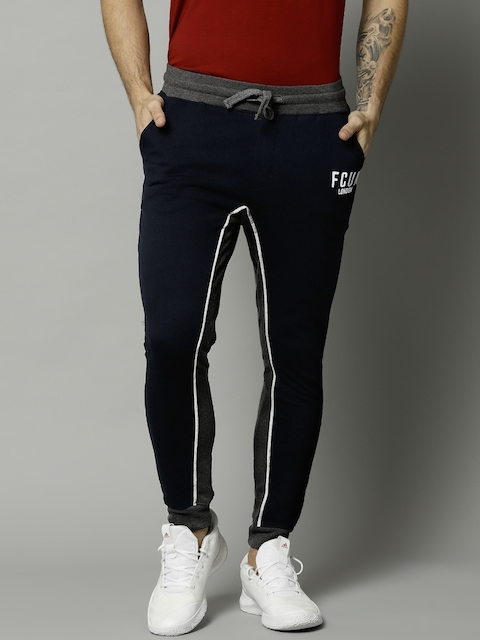 French Connection Men Navy Blue & Charcoal Grey Solid Joggers