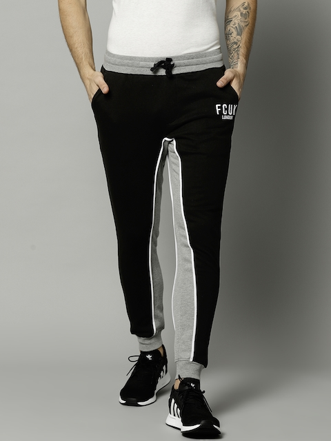 French Connection Black & Grey Melange Colourblocked Joggers