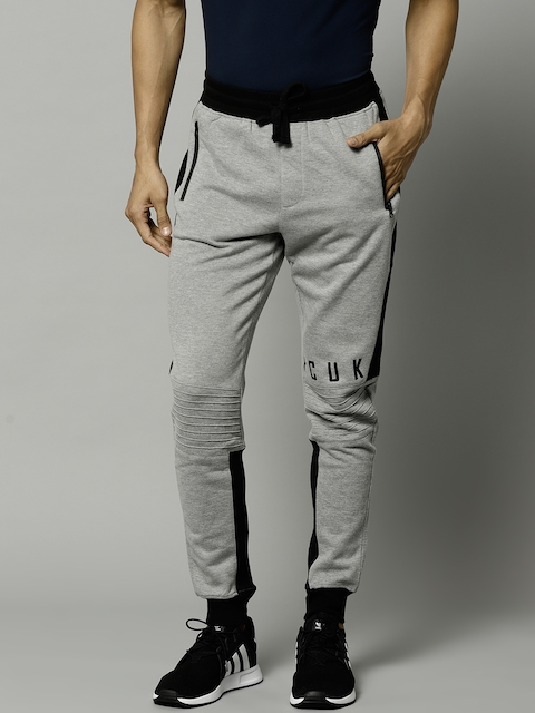 French Connection Men Grey Melange & Black Blue Solid Joggers