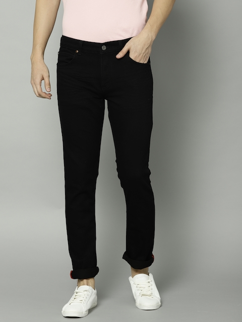 French Connection Men Black Slim Fit Mid-Rise Clean Look Stretchable Jeans