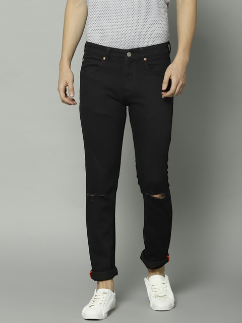 French Connection Men Black Slim Fit Mid-Rise Slash Knee Stretchable Jeans
