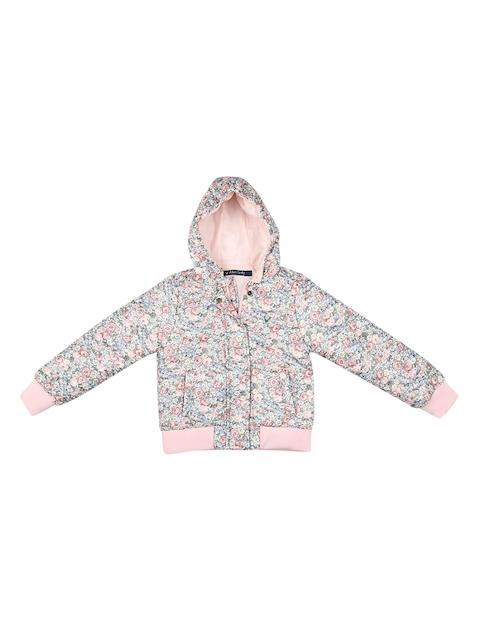 Allen Solly Junior Girls Pink Floral Print Bomber Jacket