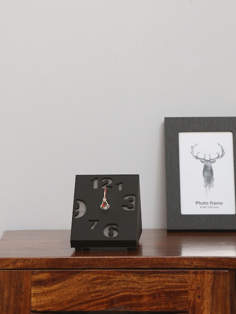 Athome by Nilkamal Black Geometric Solid Analogue Table Clock