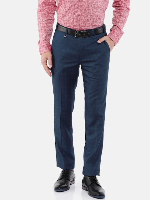 Park Avenue Men Blue Regular Fit Checked Formal Trousers