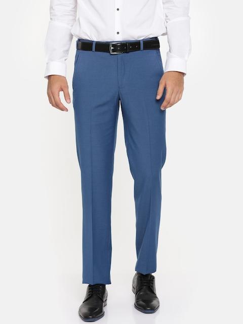 Park Avenue Men Blue Super Slim Fit Solid Formal Trousers