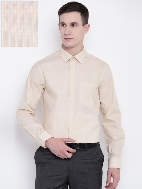 Blackberrys Men Beige Slim Fit Printed Formal Shirt