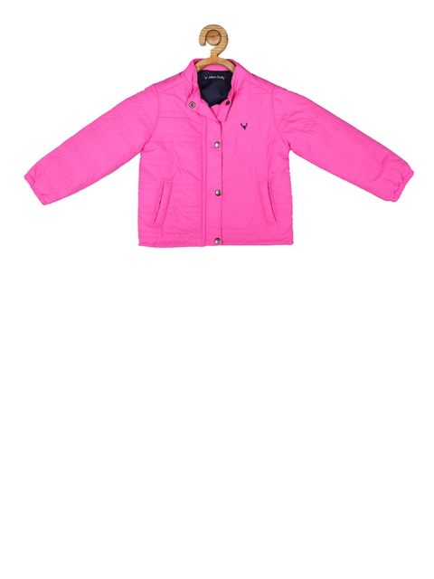 Allen Solly Junior Girls Pink Solid Quilted Jacket
