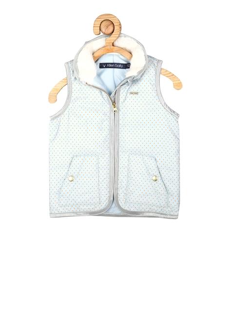 Allen Solly Junior Girls Blue Polka Dot Print Tailored Jacket