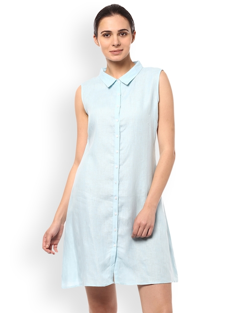Allen Solly Woman Women Blue Solid Shirt Dress
